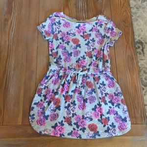 EUC Gap Kids Floral Gray Dress XS 4 5